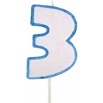 Bougie chiffre pailletée bleu 3