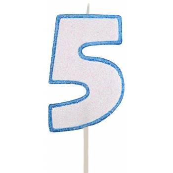 Bougie chiffre pailletée bleu 5