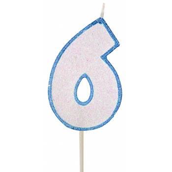 Bougie chiffre pailletée bleu 6