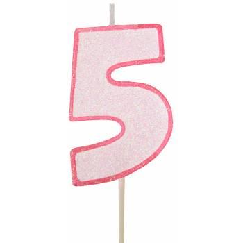 Bougie chiffre pailletée rose 5