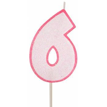 Bougie chiffre pailletée rose 6
