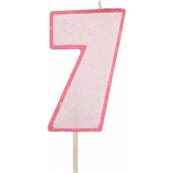 Bougie chiffre pailletée rose 7