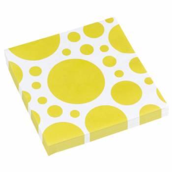 Serviettes jetables papier pois jaune