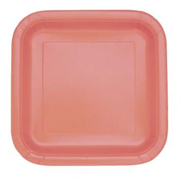 Assiettes à dessert carton jetables carrée corail