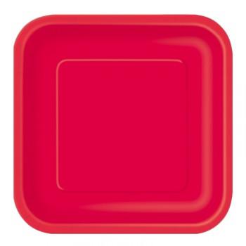 Assiettes carton jetables à dessert carrée rouge