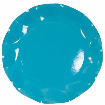 Assiettes jetables forme corolle turquoise