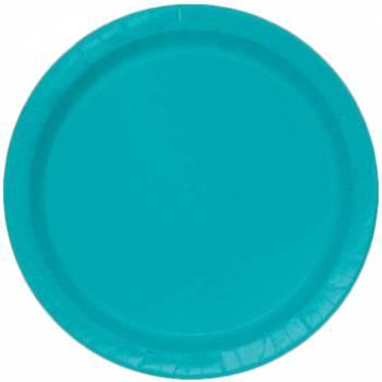 Assiettes carton jetables rondes bleu
