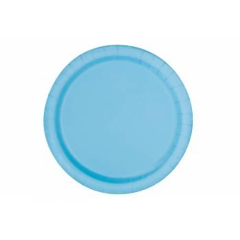 Assiettes à dessert carton jetables rondes bleu layette