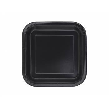 Assiettes carton jetables à dessert carrée noire