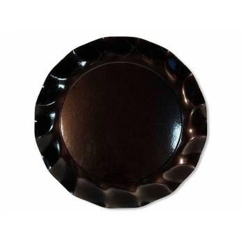 Assiettes jetables forme corolle noir