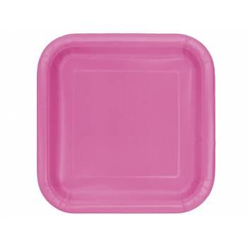 Assiettes carton jetables carrée fuchsia