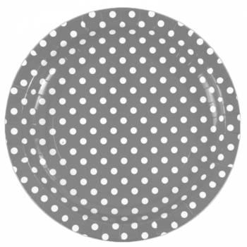 Assiettes carton jetables pois gris