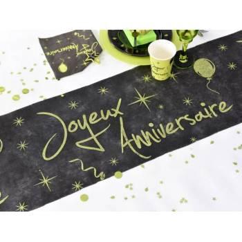 Chemin de table pailleté Joyeux anniversaire vert