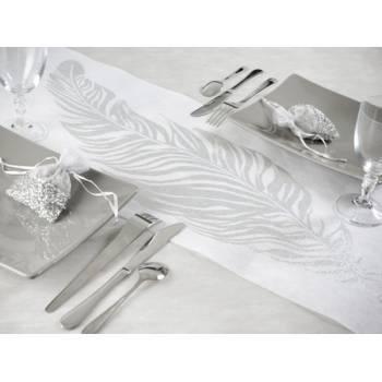 Chemin de table plume argent/blanc
