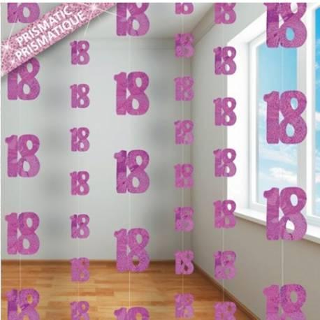 6 Guirlandes Fils 18 Ans Pink Deco Anniversaire