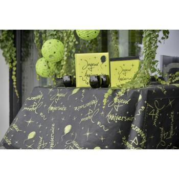 Nappe pailleté Joyeux anniversaire vert