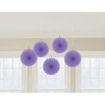 5 décors à suspendres éventail violet