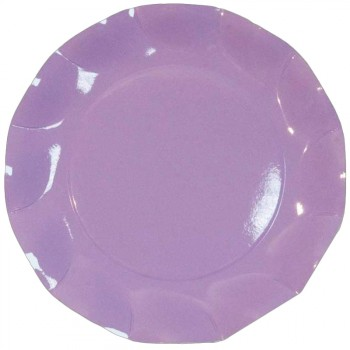 Assiettes jetables forme corolle lilas
