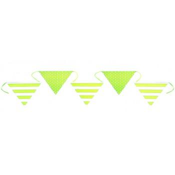 15 Fanions à suspendre rayures et pois vert