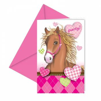 6 Cartes invitations Cheval d'amour