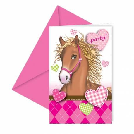 6 invitations anniversaire cheval love. Black Bedroom Furniture Sets. Home Design Ideas