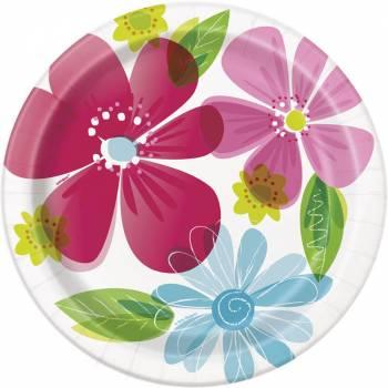 8 Assiettes Flower spring