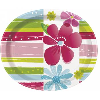 8 Assiettes ovale Flower spring