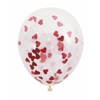 5 Ballons confettis coeur rouge