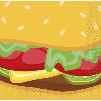16 Serviettes dessert burger party