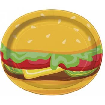 8 Assiettes ovale Burger party