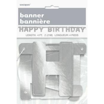 Banderole Happy Birthday argent métallisé