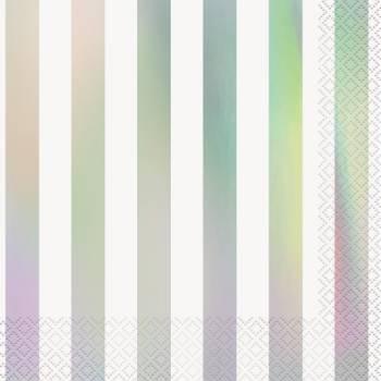 16 Serviettes rayures irisé
