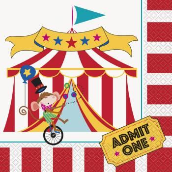 16 Serviettes carnaval circus