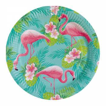 8 Assiettes Flamingo paradise