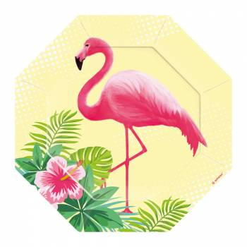 6 Assiettes dessert Flamingo paradise