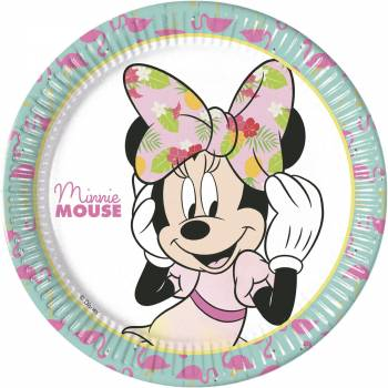 8 Assiettes Minnie Tropical