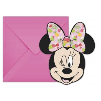 6 cartes invitations Minnie Tropical