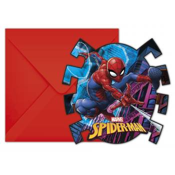 6 cartes invitations Spiderman team up