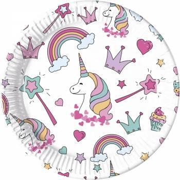 8 Assiettes magic party licorne