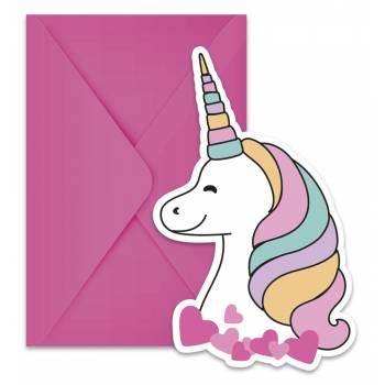 6 cartes invitations magic party licorne