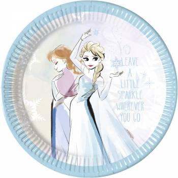 8 Assiettes La Reine des Neiges sparkle