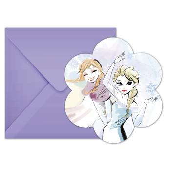 6 cartes invitations La Reine des Neiges sparkle