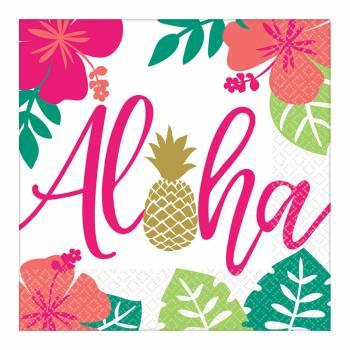 16 serviettes en papier Aloha