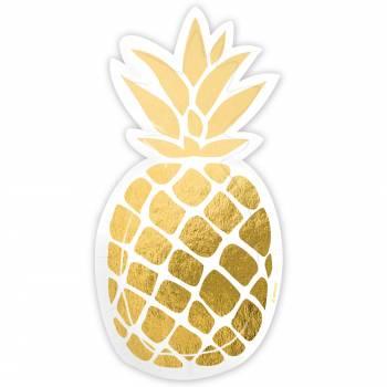 6 Assiettes en forme Ananas doré