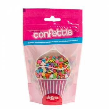 Confettis en sucre coeur multicolore 100gr