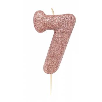 Bougie chiffre N°7 gold rose