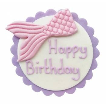Plaque Happy Birthday Sirène en sucre