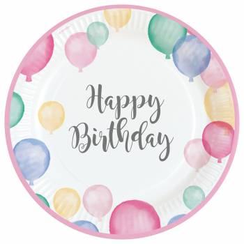 8 Assiettes Birthday Pastel