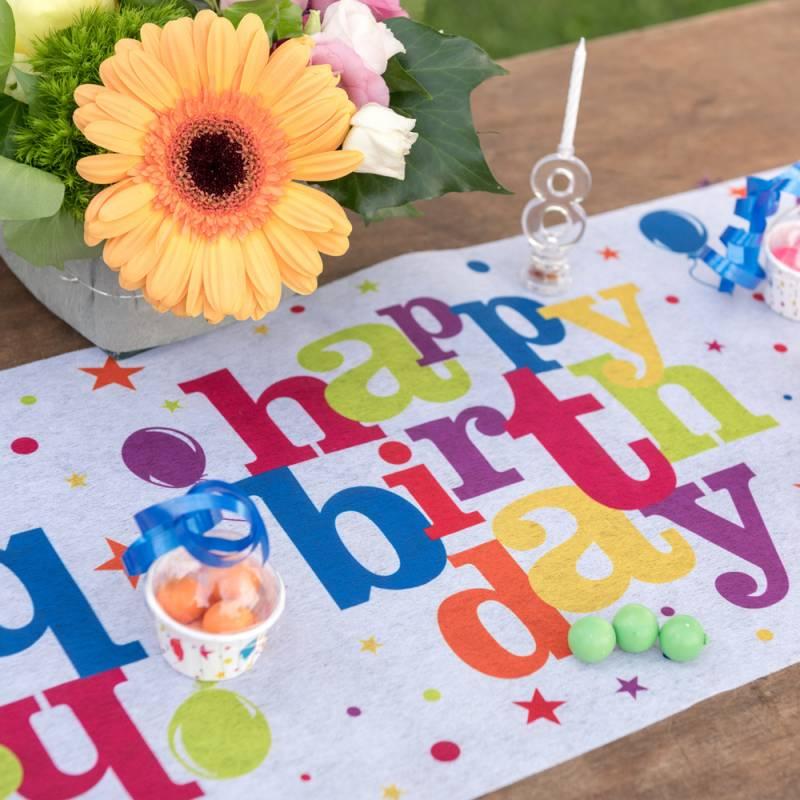 Chemin de table happy birthday multicolore - Deco table multicolore ...