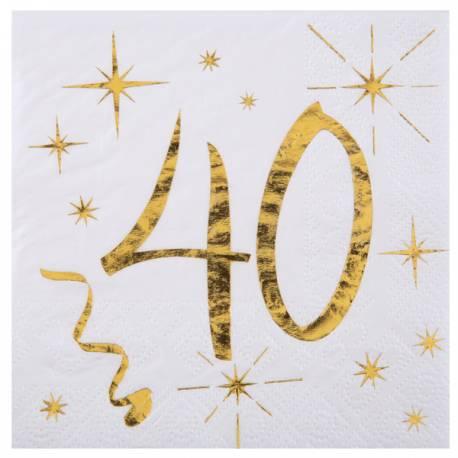 20 Serviettes à dessert blanches avec âge en dorure or 40 ans pour une décoration de table d'anniversaire chic et tendance Dimensions:...